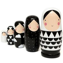 1 Set 5 Layers Wood Russia Dolls Superposed Dolls Collection