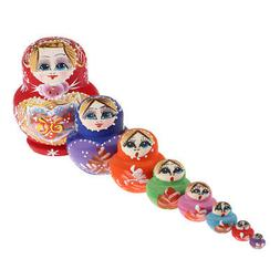 10 Piece Wood Russian Doll Stacking Girs Toys for Kid's Part