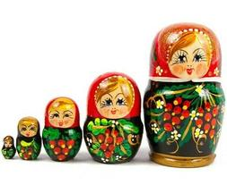 5 pc Berry Patterns Nesting Doll, Hand-painted Russian Woode