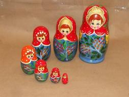 7 Vintage Wooden Hand Carved Painted Russian Nesting Dolls 7