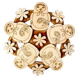 """8"""" Round Trivet with Nesting Dolls. Hot Plate Stand with Nat"""