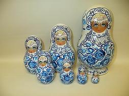 """8"""" Russian Nesting or Counting Doll 7 Piece Pretty Ladies In"""
