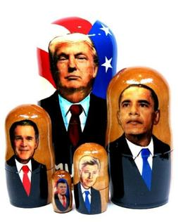 American Presidents Collectible Russian Nesting Doll 5-Piece