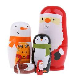 Animals and Santa Claus - Wooden Russian Nesting Dolls for K