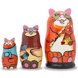 """5.5"""" Set of 3 Cats With Fish and Rod Wooden Russian Nesting"""