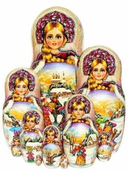 Celebration 10 Piece Russian Exclusive Nesting Doll. Signed