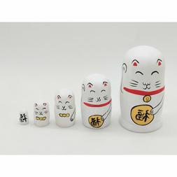 Five-layer Dolls Plutus Cat Ornaments Wooden Crafts Gift Rus