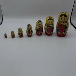 Gorgeous 7 Piece Mutruska Russian Nesting Doll, Vintage In N