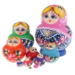 Hand Painted Girl Pattern Russian Nesting Dolls for Kids Adu