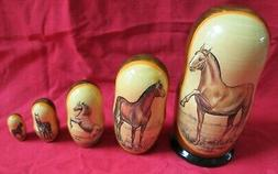 """Horses Russian Nesting Doll Set/5-pieces 7"""" Set/Hand Crafted"""