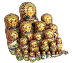 Incredible 30 Pieces Nesting Doll  Fairy-Tales- Signed