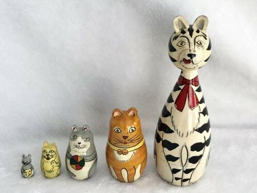 cleo and friends nesting cats hand painted