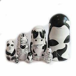 Nesting dolls Black and white animals. Signed Hand-painted m