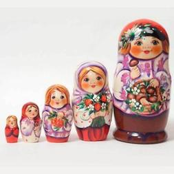 Nesting dolls for kids - Little Russian Boy with Mushrooms -