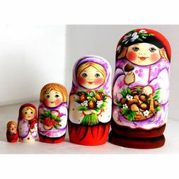 Nesting dolls Pink Russian boy with a basket of mushrooms si