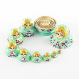 Nesting Dolls Small 10 pcs Turquoise with Burgundy