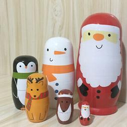 Painting Nesting Doll Santa Claus Wooden Stacking Cartoon To