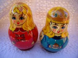 Pair of WOOD NESTING DOLLS Sets of 5 Possibly Nutcracker or