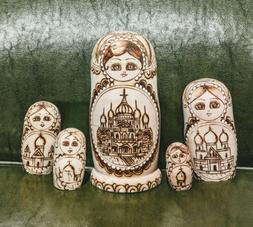 Russian Domes Woodburned,  5 pieces, 8 Inches Tall Nesting D