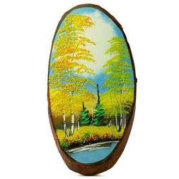 Russian Forest Autumn Woodcut Painting Wall Art Plaque 15 In
