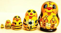 """Alkota Russian Genuine Wooden Collectible Nesting Doll """"My F"""