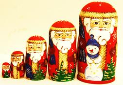 """Alkota Russian Genuine Wooden Collectible Nesting Doll """"Red"""