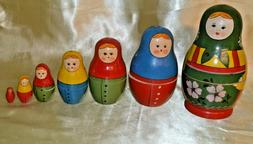 """Russian Hand Painted Wood Nesting Dolls Seven  Pieces 7"""" to"""