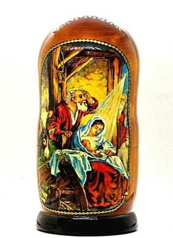 RUSSIAN NESTING DOLL WITH NATIVITY SCENES
