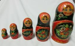 """Russian Nesting Dolls Blue Floral Set of 5 - Approx 6-1/2"""" H"""