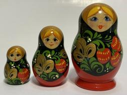 """Set of 3, 3"""" Down To 1.5"""" Russian Wood Nesting Dolls, Hand P"""