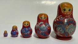"""Set of 5- 3"""" Down To 1/2"""" Russian Wood Nesting Dolls, Hand P"""