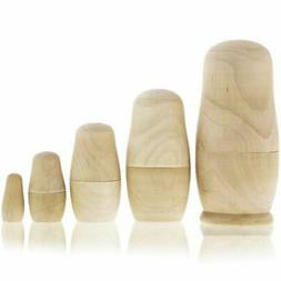 Set of 5 Blank Unpainted Wood Nesting Dolls for DIY Crafts,