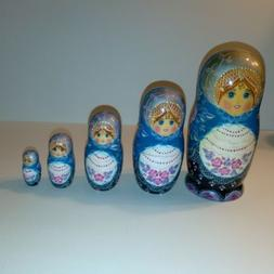 """Vintage Large Stacking Nesting Dolls Russian 7 1/2"""" High Sig"""