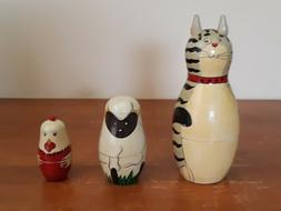 Vintage  Nesting Dolls Wood 3 Pc Hand Painted Cat, Sheet and
