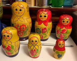 Vintage Russian Nesting Dolls 8 Inch 6 Piece Set Signed And