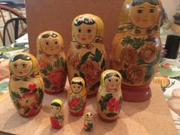 Vintage Russian nesting dolls, five handpainted with Floral