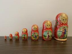 """Vintage Russian Nesting dolls Hand painted 7 pc 8"""" tall"""