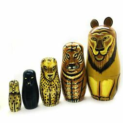 VTG Wooden Hand Painted Nesting Jungle Cats Set Of 5