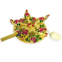 Wooden Russian Folk Art Toy Pecking Chicken  Rooster Feed As